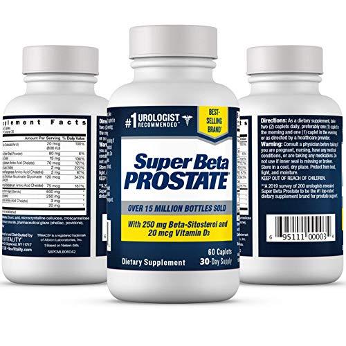 Super Beta Prostate – Over 15 Million Bottles Sold – Urologist Recommended Prostate Supplement for Men - Reduce Bathroom Trips Night, Promote Sleep & Bladder Emptying, Beta Sitosterol (60ct, 1 Bottle)