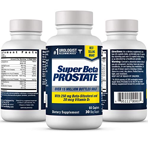 Super Beta Prostate Supplement for Men - Urinary Health & Prostate Support w/Beta Sitosterol, not Saw Palmetto - Reduce Bathroom Trips, Promote Sleep, Better Bladder Emptying (60 Caplets, 1-Bottle)
