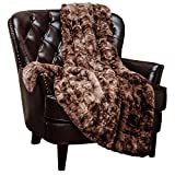 Chanasya Super Soft Fuzzy Faux Fur Throw Blankets - Fluffy Plush Lightweight Cozy Snuggly with Sherpa for Couch Sofa Living Room Bedroom - Brown Fall & Winter Decor (50x65 Inches) Chocolate Blanket