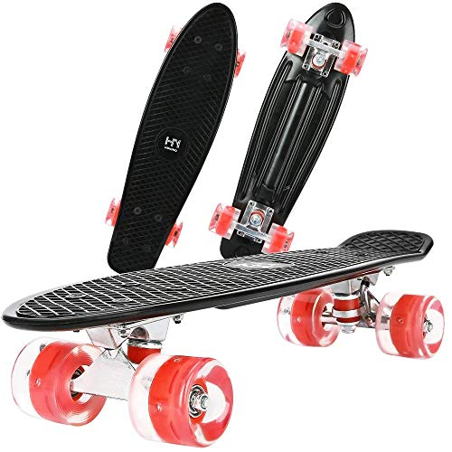 """ToyerBee Skateboards 22""""with Colorful LED Light Up Wheels, Complete Skateboard with A Repair Kit. Mini Cruiser Skateboard for Beginners/Pro, Plastic Skate Board for Boys/Girls/Kids/Adult"""
