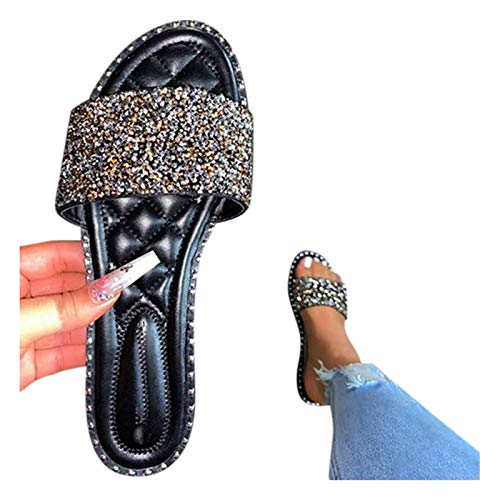 Xudanell Mujer Sandals Sparkly Slides Open Toe Slip On and Slide in Rhinestone Diamond Cute Casual Sandals para Mujer Black
