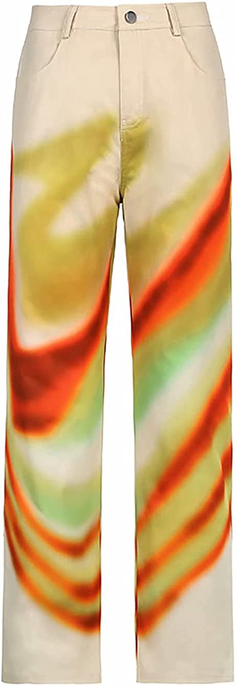 Women's Rainbow Patterned High Waisted Wide Leg Straight Trousers Loose Casual Pant for Women