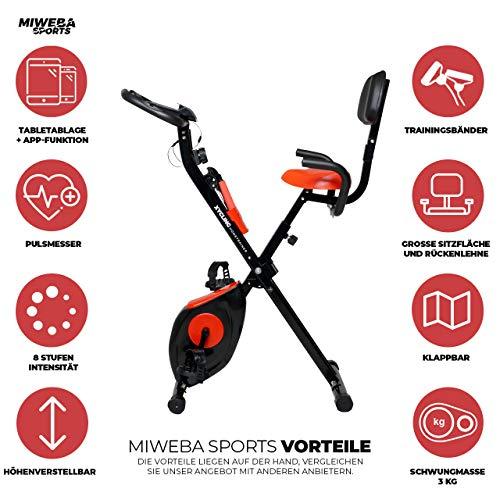 Miweba Sports Indoor Xycling X-Bike Fitnessbike - 3 Kg Schwungmasse - Pulsmessung - 8 Widerstandsstufen - App Funktion (Schwarz Rot) - 2