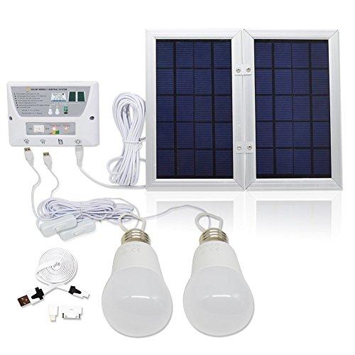 GVSHINE [6W Panel Foldable] Solar Mobile Light System, Solar Home DC System Kit, 3.7V 8000mAh Lithium Battery - 6W Foldable Panel Solar Home System Kit - Includs 3 Cell Phone Charger - 2 LED Lights