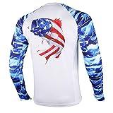 Palmyth Fishing Shirt for Men Long Sleeve Sun Protection UV UPF 50+ T-Shirts with Pocket (Largemouth bass/Flag, Large)