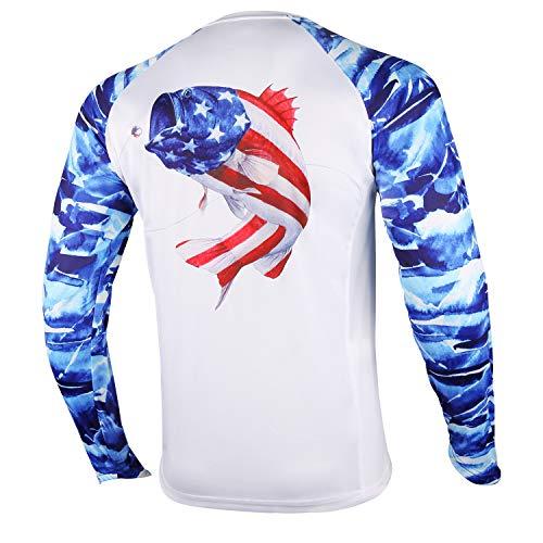 Palmyth Fishing Shirt for Men Long Sleeve Sun Protection UV UPF 50+ T-Shirts with Pocket (Largemouth bass/Flag, X-Large)