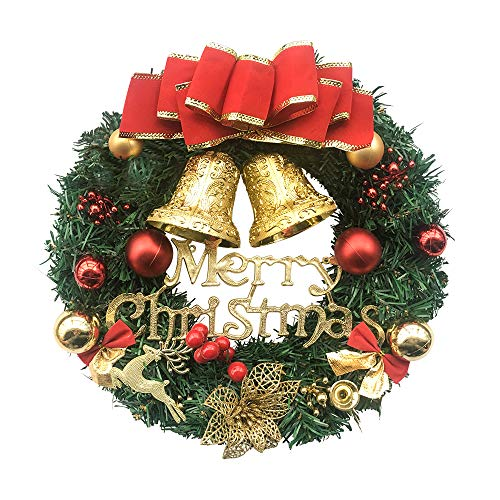 Fanme Christmas Wreath Merry Christmas Front Door Ornament Wall Artificial Pine Garland for Party Décor 13 Inches