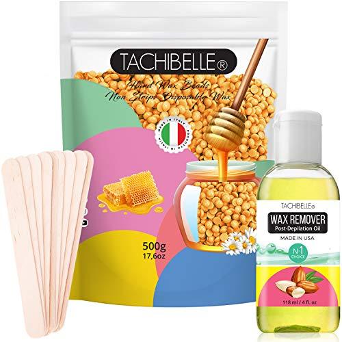 Easy to Use Hard Wax Beans,Hair Removal Full Body Brazilian Bikini Beads Waxing for Sensitive Skin Face Bikini Legs Eyebrow Mango 500g/1.1 lb, Wax Remover Oil 4 oz and Spatulas Kit