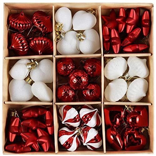 Valery Madelyn 45Pcs Bolas de Navidad de 3-4cm, Adornos de Navidad para Arbol, Decoración de Bolas Navideños Inastillable Plástico de Rojo y Blanco, Regalos de Colgantes de Navidad (Tradicional)