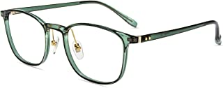 Firmoo Blue Light Blocking Glasses Anti UV Glare Square Nerd Glasses for Computer Gaming TV Anti Eyestrain Headache Clear Green Eyewear Frames Glasses for Women Men