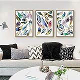 Colorido arco iris pluma misteriosa impresión cartel al óleo arte abstracto lienzo pintura para decoración estética del hogar imagen nórdica obra de arte / 40x60cmx3 sin marco