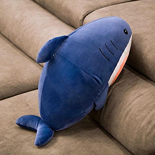 Almohada de Juguete de tiburón de Peluche Kawaii Cara de Gato de Dibujos Animados tiburón muñeca Suave decoración de sofá Almohada de Megalodon Almohada de Regalo de cumpleaños para niños 60cm A