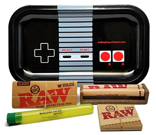 Bundle - 5 Items - RAW King Size Supreme, 110 Roller and Pre-Rolled Tips with Rolling Paper Depot Rolling Tray (Controller) and Kewl Tubes