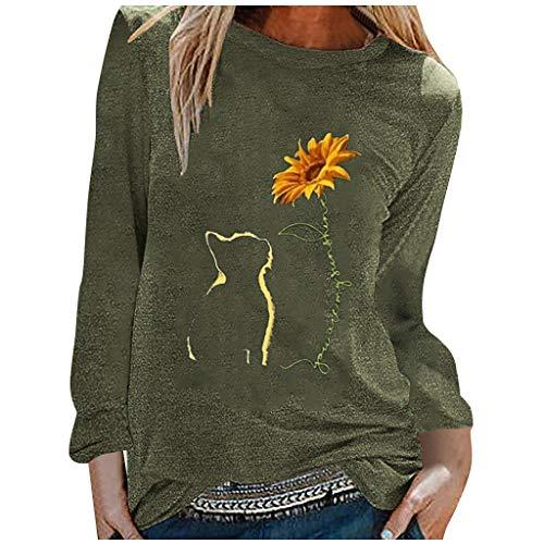 Camiseta de manga larga para mujer con estampado de girasol, cuello redondo, moda, verde militar, M