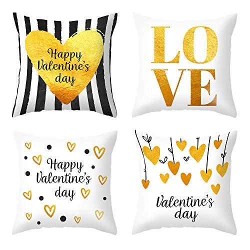 MMTX 4 Pezzi Fodere per Cuscini di San Valentino, Fodere per Cuscini in Oro Bianco per Il Tuo Amante, Madre, Fodere per Cuscini Decorativi per San Valentino Federe per federe per Divano Letto
