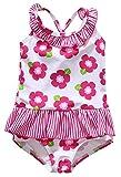 Anwell Baby Mädchen Rosa mit Blumenmuster Badeanzug Krausen Schwimmen Anzug 18-24 Month,(Herstellergröße 12-18M)