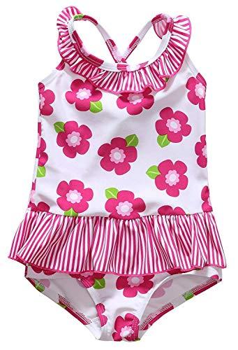 Anwell Babies mit Blumenmuster Krausen Rompers Schwimmen Anzug Kleid Rosa 12-18m,(Herstellergröße 18-24M)