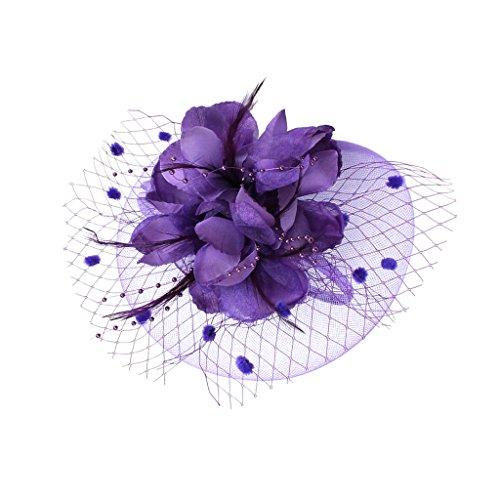 Gazechimp Damen Hochzeit Haar Clip Hut haarschmuck blumen Fascinator Stirnband - Lila