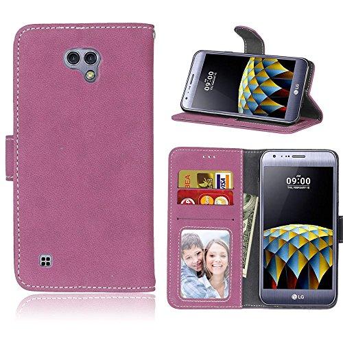 SATURCASE LG X Cam Hülle, Retro Mattiert PU Leder Flip Magnetverschluss Brieftasche Standfunktion Kartenschlitze Schützend Tasche Hülle Schutzhülle Handycover für LG X Cam (Rose)