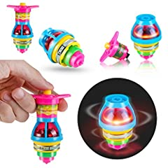 Fun for all ages and every occasion, perfect for party favors. LED lights change patterns as they spin. Made of non-toxic ABS plastic material. Attach the gyroscope to the tops, twist the handle 3 times, press the button and let it spin! Best gift ch...