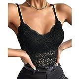 Padaleks Women's V Neck Lace Tank Tops Crop Wireless Bra Lingerie Sexy Sleeveless Underwear Camisole