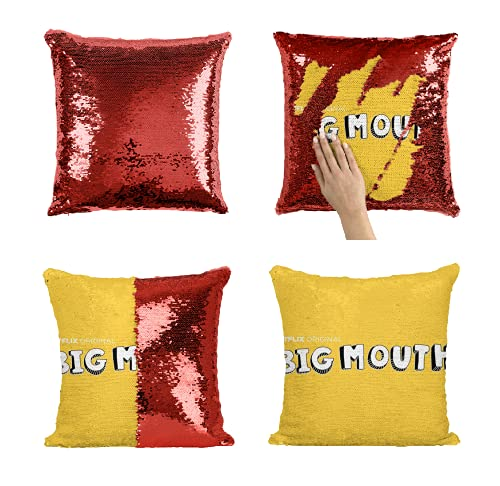 Desconocido Netflix TV Show NTX01 Sequin Pillow Almohada de Lentejuelas Regalo Divertido Pillow Case Gift, Decorative Cushion Pillow Cover 40 x 40 cm (Add Pillow Insert)