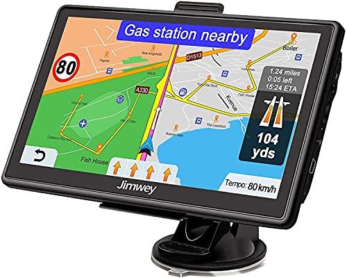 Jimwey Navigationsgerät für Auto Navi LKW Navigation 7 Zoll 16GB Lebenslang Kostenloses Kartenupdate mit POI Blitzerwarnung Sprachführung Fahrspurassistent 52 Europa UK 2021 Karte