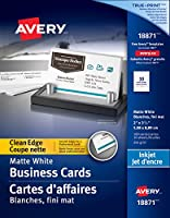 """Save on Avery Clean Edge Business Cards for Inkjet Printers, 2"""" x 3-1/2"""", White, Matte Coated, 100 Pack, Rectangle..."""