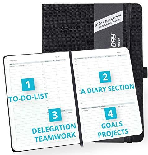 Action Day Planner 2020 - # 1 Time Management Design Dat maakt het gemakkelijk voor u om dingen gedaan, Dagelijks Wekelijks Maandelijks Jaarblad, Agenda, Gebonden, Zak, Pen Loop, Dik Papier (7x9, Zwart)