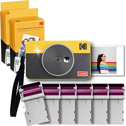 """Kodak Mini Shot 2 Retro Cámara Instantánea e Impresora Fotográfica Inalámbrica Portátil, Compatible con iOS, Android y Bluetooth, Foto Real 2.1""""x3.4"""", Tecnología 4Pass – Paquete de 60 Hojas – Amarillo"""