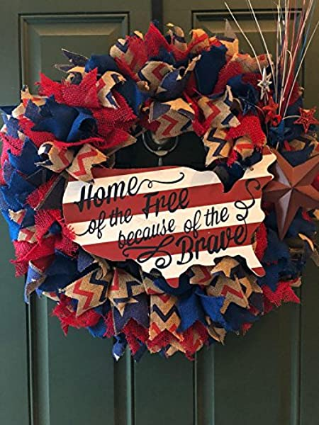 Patriotic Wreath 25 Large 4th Of July Wreath Burlap Red White And Blue Home Of The Free Because Of The Brave