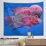 N/A Impresión 3D de tapices Hermoso Tapiz de Animales Marinos, Caballito de mar, pez Payaso, pez anémona, Mariposa, pez, decoración para Sala de Estar, Cortina Colgante de Pared