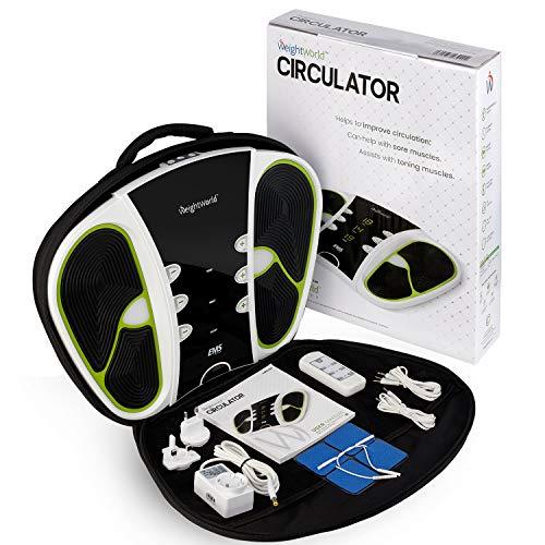 Premium Durchblutungs Stimulator - Fördert die Durchblutung der Beine - EMS Fußmassagegerät - Schwere Beine & Muskelstimulation - 99 Intensitätsstufen - WeightWorld