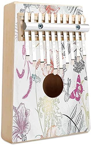 Dragonfly 10 teclas Kalimba Mbira Piano de pulgar Diseño floral Adornos de hibisco Polilla y libélula Transformación simbólica Criatura portátil Mbira Piano de dedo Regalo para adultos, niños y princ
