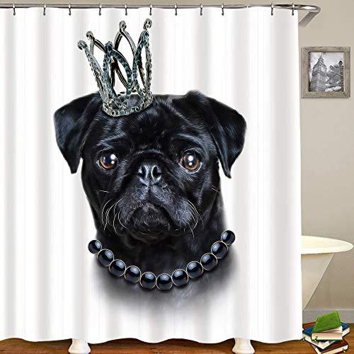 HUAYEXI Duschvorhang 180x180cm,EIN handgezeichneter König schwarzer Mops,Duschvorhang Wasserabweisend-Duschvorhangringen 12 Shower Curtain mit