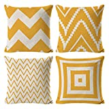 INSHERE Farmhouse 4 Pack Simple Yellow and Beige Geometric Wave Throw Pillow Covers Cases for Couch Sofa Bed Home Decor, Square Cotton Linen Cushion Cover 18 X 18 Inches