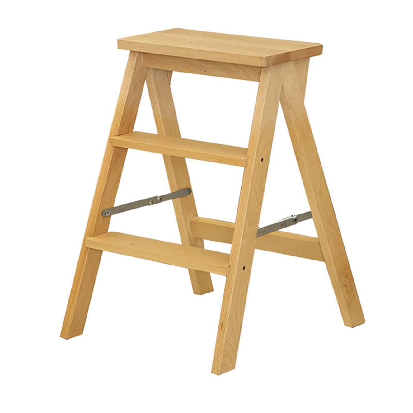 3 Tread Folding Stepstool/Ladder Chair Stool, Wood Stair Chair Stepladder Widened High Stool Home Garden Tool Heavy Duty Max. 150kg in Yellow 42x48x60cm
