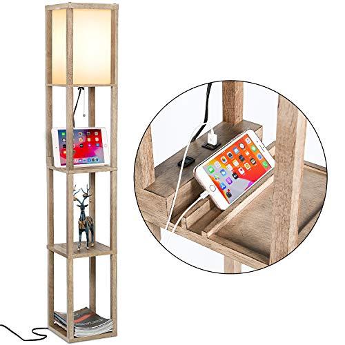 Modern LED Shelf Floor Lamp, Shelf & LED Floor Lamp Combination, Skinny End Table & Nightstand for Bedroom, Modern Wood Floor Lamp, Corner Storage Standing Bookshelf Lamp - Natural Wood