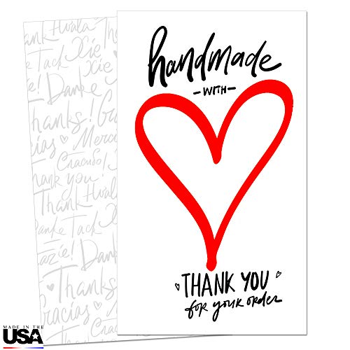 85 Handmade with Love Thank You Cards for Small Business - Mini Note Cards - Thank You for Your Order Cards - Customer Appreciation Notes - Package Insert - Pen Friendly Back - Business Card Size