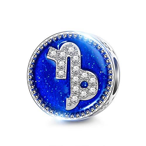 NINAQUEEN Charms per Pandora Charm Originali Capricorno Segni Zodiaco Ciondoli Argento 925 Regalo Donna Smalto Regali Compatibile con Collana e Bracciale Chamilia e Europei, con Confezione Regalo