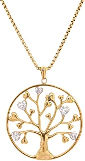 Bevilles Yellow Stainless Steel Crystal Heart Leaf Tree of Life Necklace Pendant