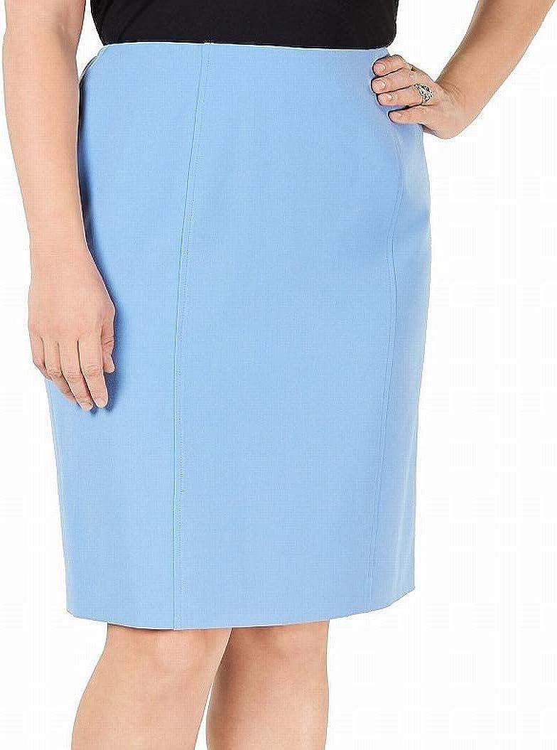 Kasper Womens Light Blue Slitted Below The Knee Pencil Wear to Work Skirt Size 14W