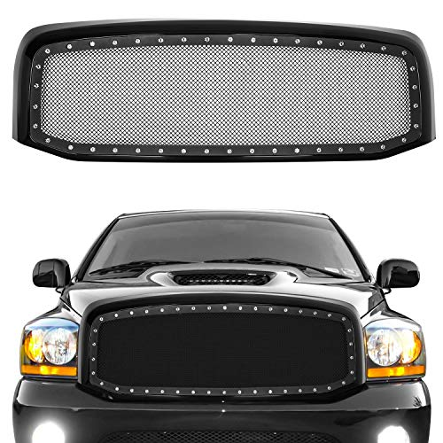 Grill for 2006 2007 2008 2009 Ram 1500, AAIWA Front Grille Replacement Rivet Stainless Steel Mesh Grill Kit Compatible with 06-09 Dodge Ram 1500, Black