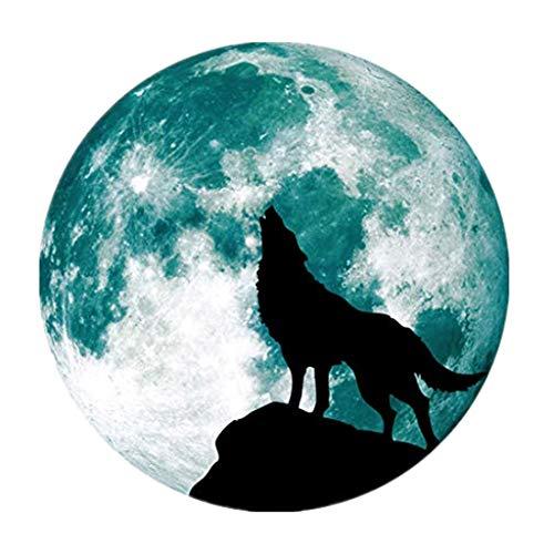 Xiangdandul Halloween Wandaufkleber Wanddeko Leuchtende Fenster Aufkleber Wolf Silhouette Mond Fluoreszierende Luminous Moon Wall StickerSchaufensterglas Wandtattoo DIY Home Decor (L, Grün)