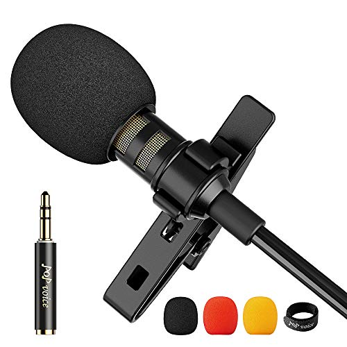 PoP Voice 12.8 Feet Lavalier Lapel Microphone Professional Grade Omnidirectional Mic Condenser Small Mini Perfect for Recording Podcast PC Laptop Android iPhone YouTube Interview ASMR External