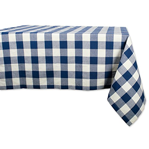DII Classic Gingham Check Tabletop Collection 100% Cotton Machine Washable, for Spring, Summer, Everyday Use, Entertaining and Family Gatherings, Table Runner, 60x84, Navy & Cream