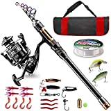 Bluefire Fishing Rod and Reel Combos Carbon Fiber Telescopic Fishing Rod Kit with Spinning Reel, Line, Lure,...