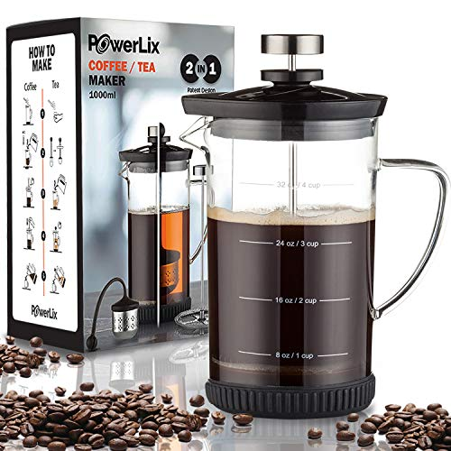POWERLIX French Press Coffee Maker (34 oz)– Coffee Press and Tea Press for Coffee & Loose Tea,...