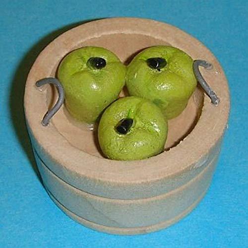 Miniatures World - Houten mand gevuld met appels voor miniatuurdecoraties en poppenhuizen op schaal 1:12