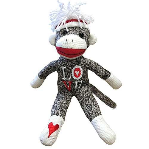 Sock Monkey Plush - 12 Inch Valentines Day Sock Monkey - Love Sock Monkey - Classic Brown with Tossle Hat - Perfect for Valentines Day Gift